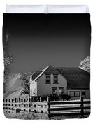 House And Cottonwoods Duvet Cover