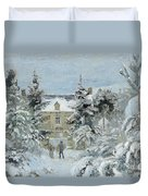 House At Montfoucault Duvet Cover by Camille Pissarro