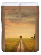 House At The End Of A Track In A Poppy Field Duvet Cover