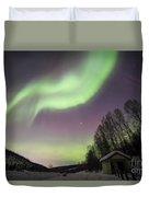 House, Aurora, Night Sky At Alaska, Fairbanks Duvet Cover