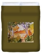 House Beside Mountain Duvet Cover