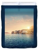 House By A Lake At Sunset Duvet Cover