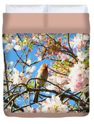 House Finch In The Cherry Blossoms Duvet Cover