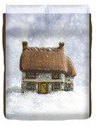 House In Snow Duvet Cover