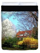 House On The Hill In Spring Duvet Cover