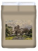 House Statue In The Field Duvet Cover
