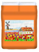 House With Tulips  In Holland Painting Duvet Cover
