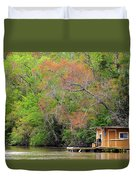 Houseboat On The Apalachicola River Duvet Cover