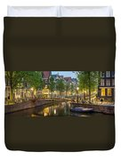 Houses Along Canal At Dusk Duvet Cover