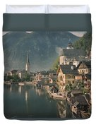 Houses Line The Lake Of Hallstatt Duvet Cover