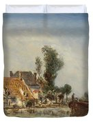 Houses On A Waterway Near Crooswijk Duvet Cover