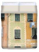 Houses, Portofino, Italy Duvet Cover