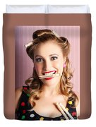 Housewife Doing Cleaning And Pin-up Laundry Chores Duvet Cover
