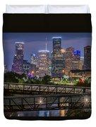 Houston Skyline Over Buffalo Bayou At Twilight Duvet Cover