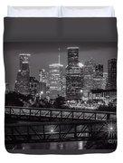 Houston Skyline With Rosemont Bridge In Bw Duvet Cover