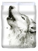 Howling Wolf Watercolor Duvet Cover