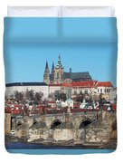 Hradcany - Cathedral Of St Vitus And Charles Bridge Duvet Cover