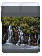 Hraunfossar In The Gloom Duvet Cover