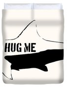 Hug Me Shark - Black  Duvet Cover by Pixel  Chimp