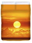Huge Orange Sun Duvet Cover