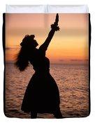 Hula At Sunset Duvet Cover