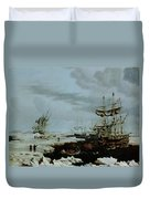Hull Whalers In The Arctic  Duvet Cover by Thomas A Binks