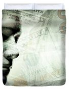 Human Man Face And Dollars Double Exposure. Duvet Cover