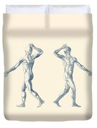 Human Muscular System - Dual View - Vintage Anatomy Poster Duvet Cover