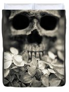 Human Skull Among Flowers Duvet Cover