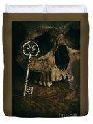 Human Skull With Vintage Key Duvet Cover