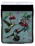 Hummers And Fuchsia Duvet Cover