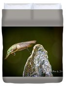 Humming Bird Hovering Over Water Fountain Getting A Drink Duvet Cover