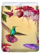 Humming Birds And Fuchsia-jp2784 Duvet Cover