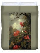 Hummingbird And Passionflowers Duvet Cover