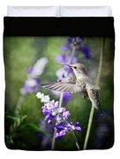 Hummingbird And Purple Lupine  Duvet Cover