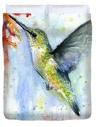 Hummingbird And Red Flower Watercolor Duvet Cover