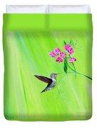Hummingbird And Sweet Peas Duvet Cover