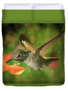 Hummingbird And The Monkey Flowers Duvet Cover