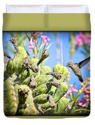 Hummingbird And The Saguaro  Duvet Cover