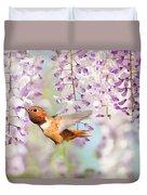Hummingbird At Wisteria Duvet Cover