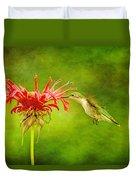 Hummingbird Bee Balm And Textures Duvet Cover