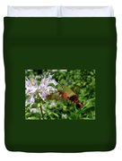 Hummingbird Clear-wing Moth At Monarda Duvet Cover
