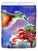 Hummingbird Drinking From Red Flower Duvet Cover