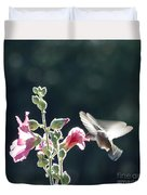 Hummingbird Drinking Pink Hollyhock Photography Duvet Cover