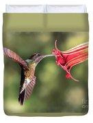 Hummingbird Enjoying Beautiful Flower Duvet Cover