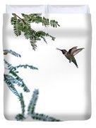 Hummingbird In Flight Isolated On White Sky Duvet Cover