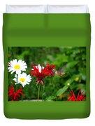 Hummingbird In Flowers Duvet Cover