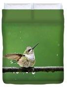 Hummingbird In The Rain Duvet Cover