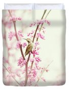 Hummingbird Perched Among Pink Blossoms Duvet Cover
