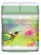 Hummingbird With Bible Verse Duvet Cover